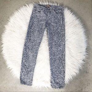 Paige Steel Cheetah Peg Skinny Jeans 27